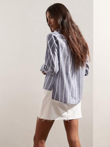 Kadın NAVY Pamuk Keten Karışımlı Çizgili High-Low Gömlek
