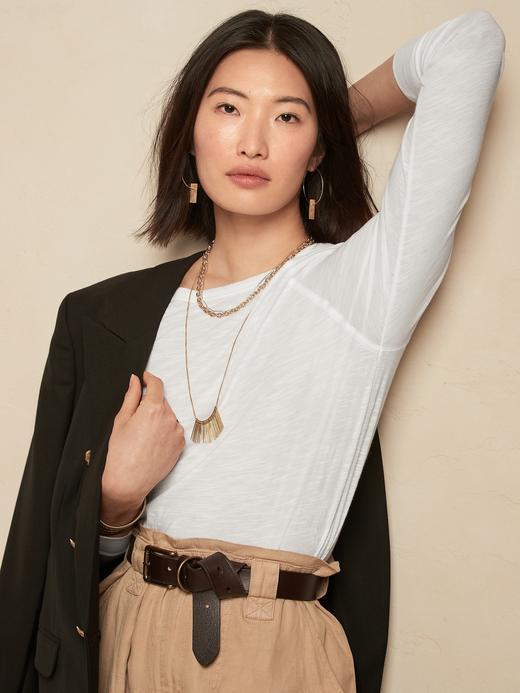 Kadın Beyaz Pamuk Modal Karışımlı Uzun Kollu T-Shirt