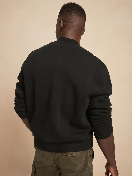 Erkek siyah Organik Pamuklu Bomber Ceket