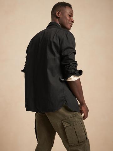 Erkek siyah Standard-Fit Chambray Gömlek