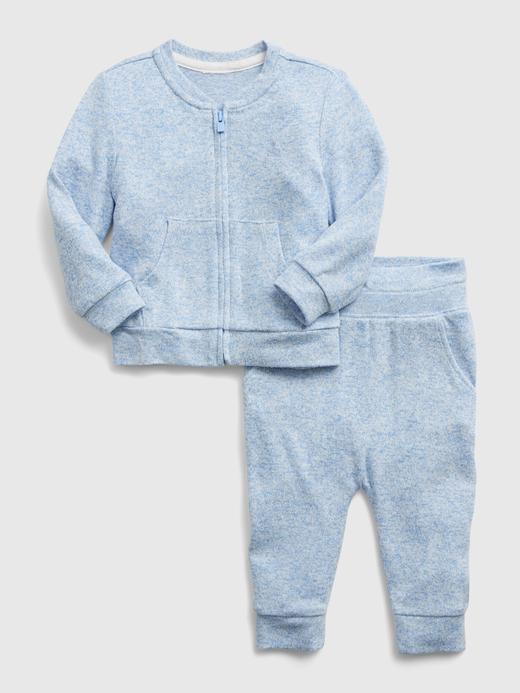 Erkek Bebek Mavi Softspun Fermuarlı Takım