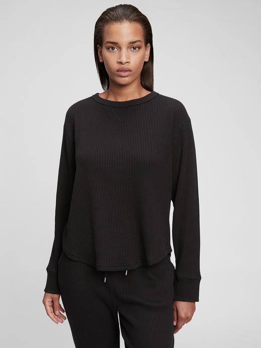 Kadın Siyah Waffle Örme T-Shirt