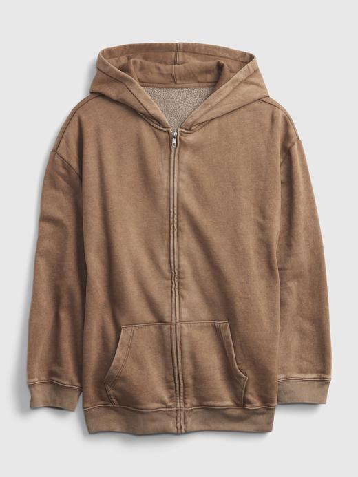 Genç Kız Kahverengi Teen Oversize Tunik Kapüşonlu Sweatshirt