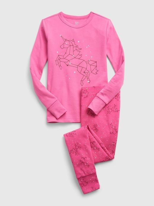 Kız Çocuk Pembe %100 Organik Pamuk Unicorn Desenli Pijama Takımı