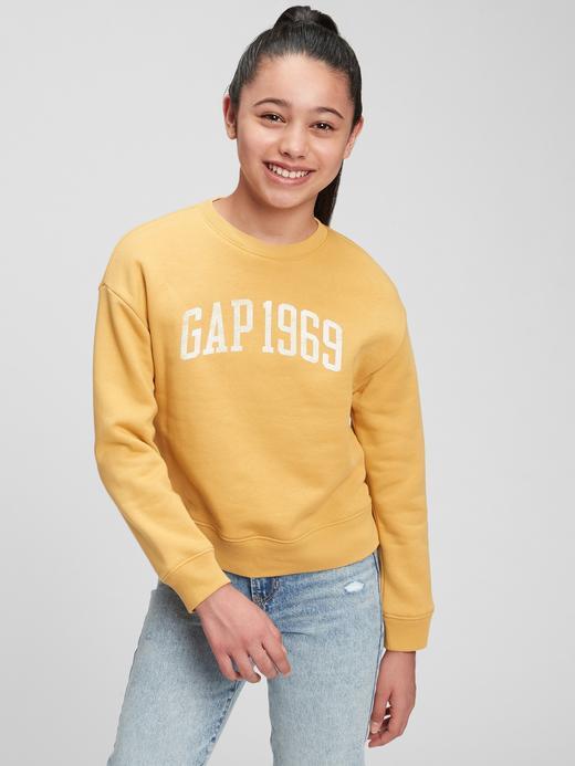 Kız Çocuk Sarı Gap Logo Yuvarlak Yaka Sweatshirt