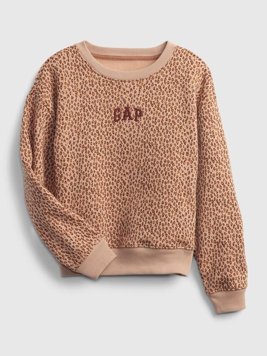 Kız Çocuk kahverengi Gap Logo Yuvarlak Yaka Sweatshirt