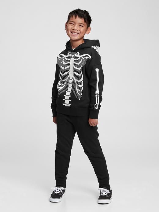 Erkek Çocuk siyah İskelet Detaylı Kapüşonlu Sweatshirt