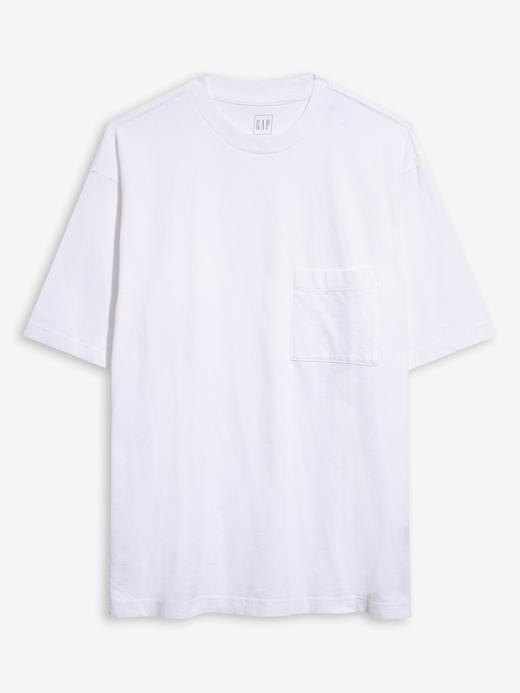 Erkek Beyaz Geniş Kesimli Cepli T-shirt