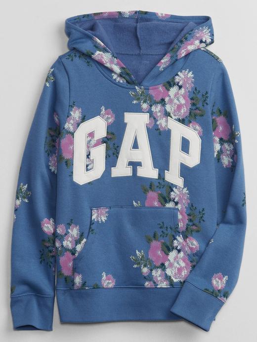 Kız Çocuk Mavi Gap Logo Kapüşonlu Sweatshirt