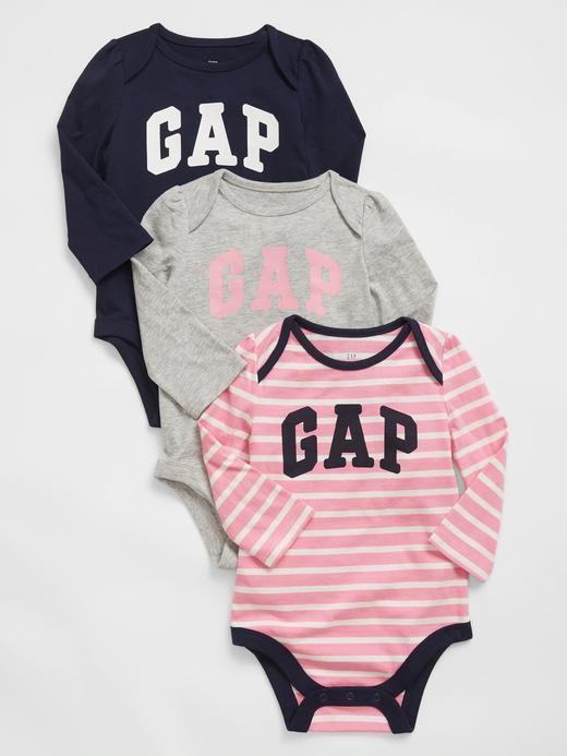 Erkek Bebek Pembe 3'lü Baby Gap Logo Bodysuit