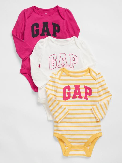 Erkek Bebek Sarı 3'lü Baby Gap Logo Bodysuit