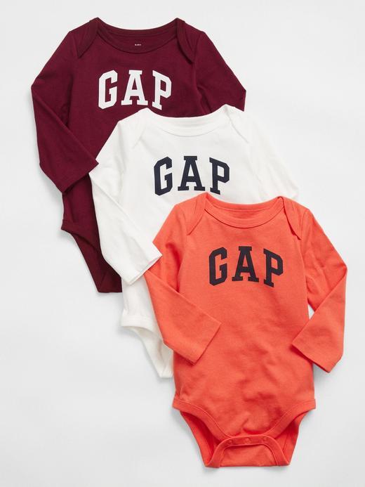 Erkek Bebek Turuncu 3'lü Baby Gap Logo Bodysuit