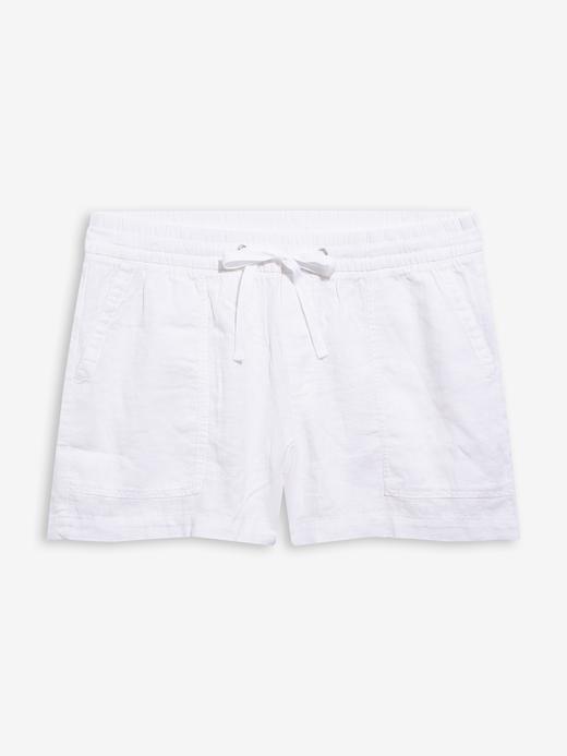 Kadın Beyaz Keten Karışımlı Pull-On Şort