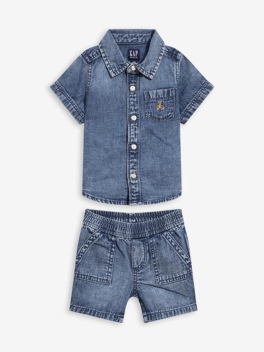 Erkek Bebek Mavi Bebek Denim Outfit