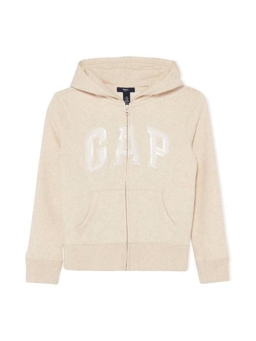 Kız Çocuk Bej Pullu Gap Logo Kapüşonlu Sweatshirt