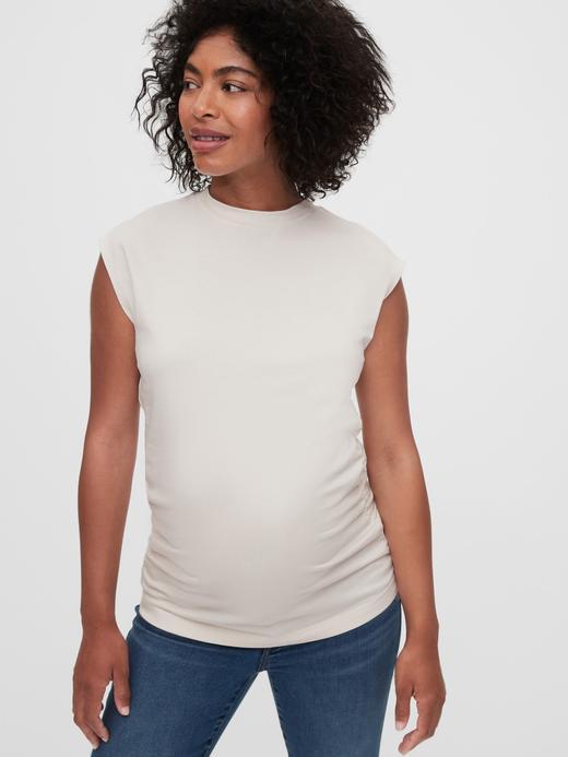 Kadın Beyaz Maternity Saf Pamuklu T-Shirt