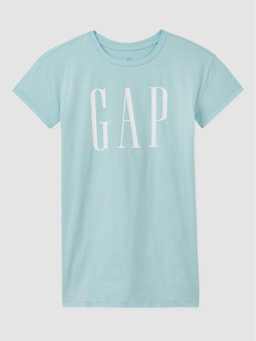 Kız Çocuk Mavi Gap Logo Çizgili Elbise
