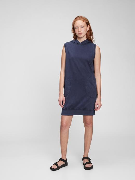 Kadın Lacivert Kapüşonlu Sweatshirt Elbise