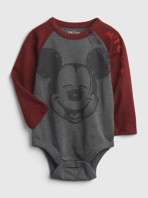 Erkek Bebek Gri Disney Mickey Mouse Bodysuit