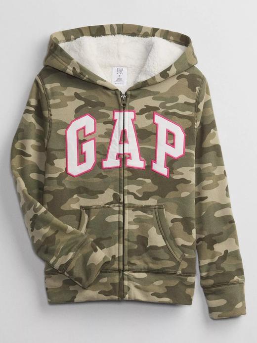 Kız Çocuk Yeşil Gap Logo Kapüşonlu Sherpa Sweatshirt
