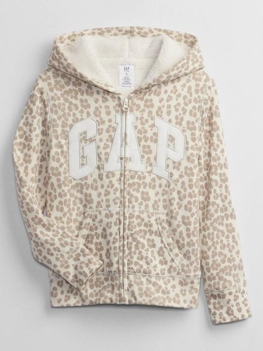 Kız Çocuk bej Gap Logo Kapüşonlu Sherpa Sweatshirt