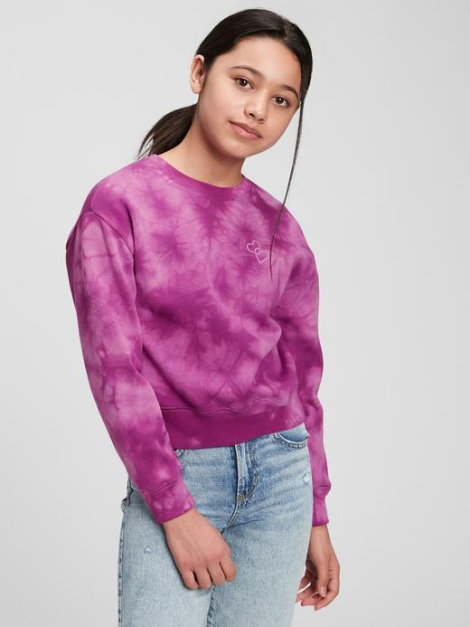 Kız Çocuk Mor Yuvarlak Yaka Sweatshirt