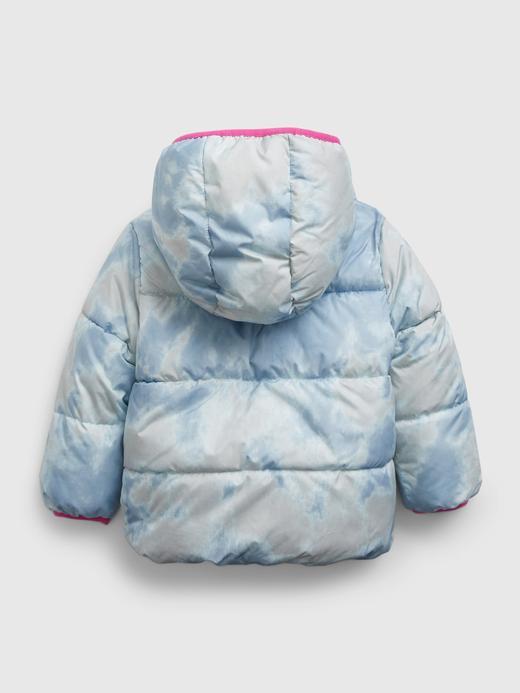 Kız Bebek Mavi Çİft Taraflı ColdControl Puffer Şişme Mont
