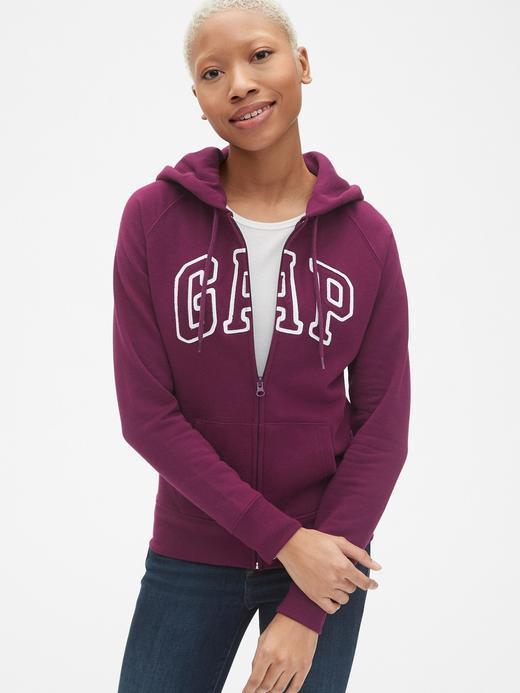 Kadın kirmizi Gap Logo Fermuarlı Sweatshirt