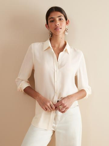Kadın beyaz Dillon Classic Fit Gömlek