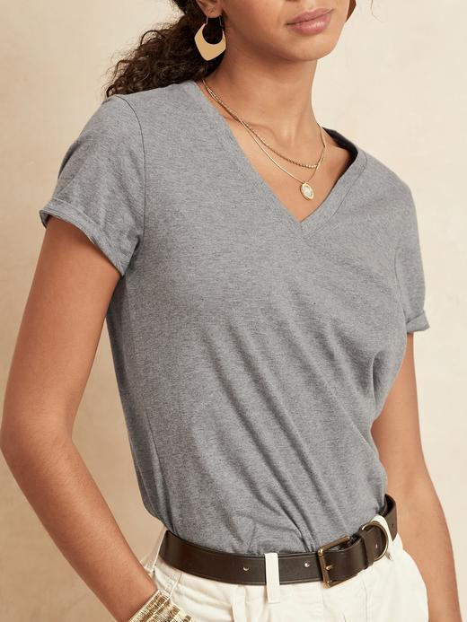 Kadın Kahverengi SUPIMA® V Yaka T-Shirt