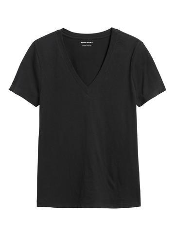 Kadın Siyah SUPIMA® V Yaka T-Shirt