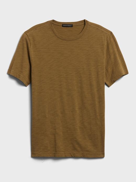 Erkek Kahverengi Organik Soft-Wash Yuvarlak Yaka T-Shirt