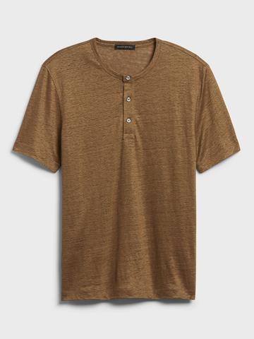 Erkek Kahverengi Keten Henley T-Shirt