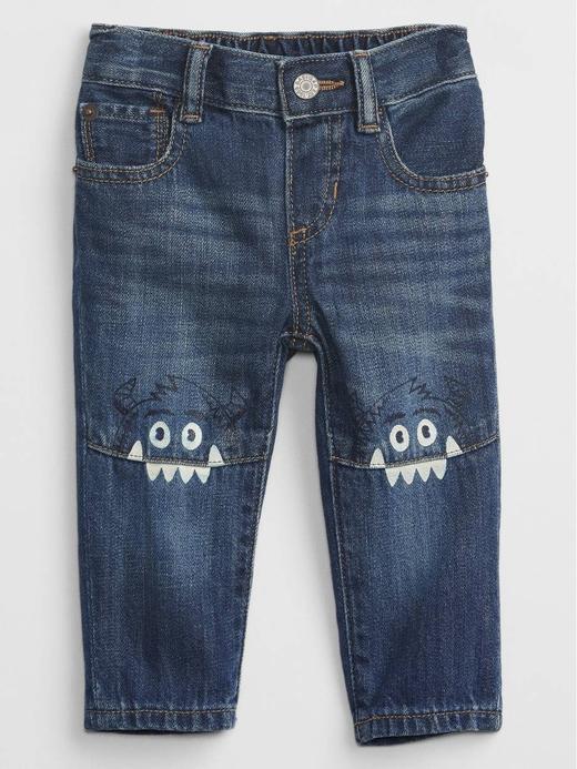 Erkek Bebek Lacivert Grafik Desenli Straight Jean Pantolon