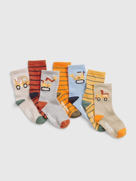 Bebek Çok Renkli 7'li Grafik Desenli Çorap Seti