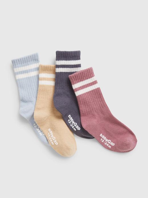 Bebek Çok Renkli 4'lü Organik Pamuk Çorap Seti