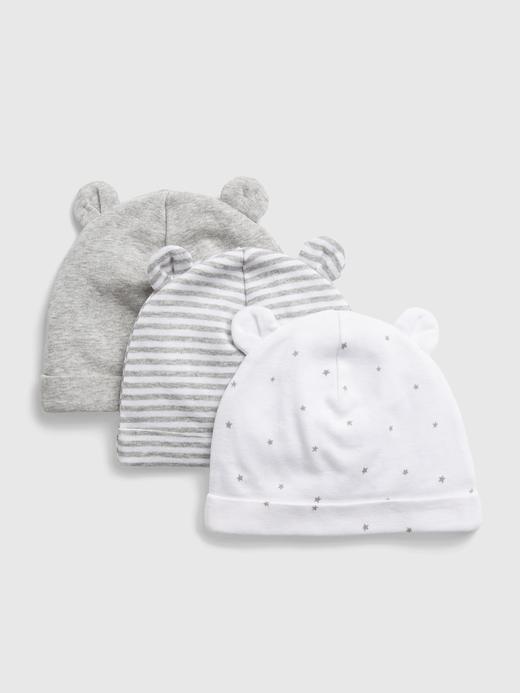 Erkek Bebek Gri %100 Organik Pamuk 3'lü Şapka Seti