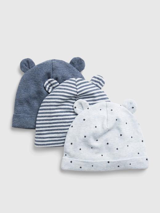 Erkek Bebek Mavi %100 Organik Pamuk 3'lü Şapka Seti
