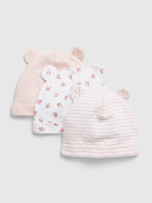Erkek Bebek Pembe %100 Organik Pamuk 3'lü Şapka Seti
