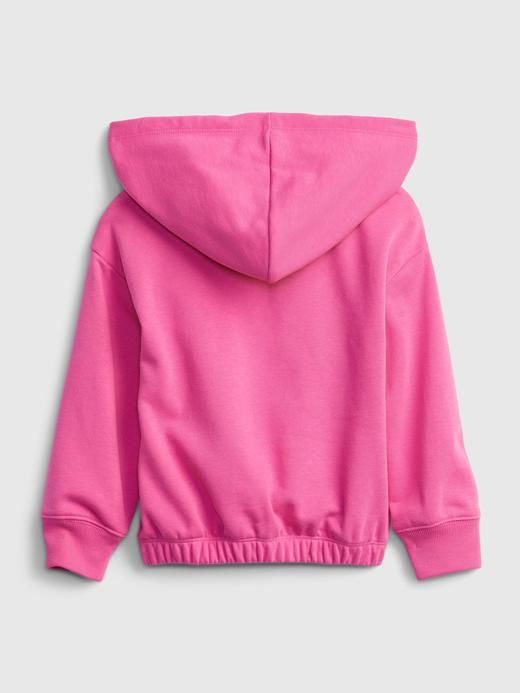 Kız Bebek Pembe Grafik Desenli Kapüşonlu Sweatshirt
