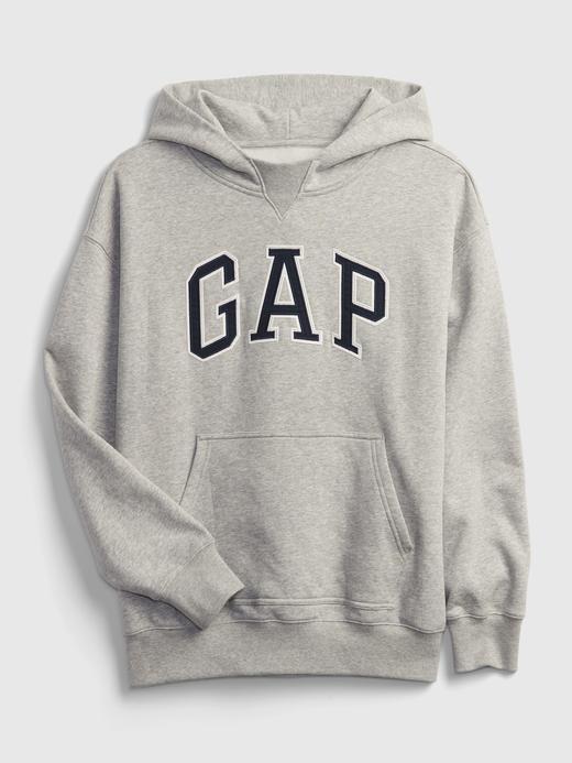 Erkek Çocuk Beyaz Gap Logo Kapüşonlu Sweatshirt