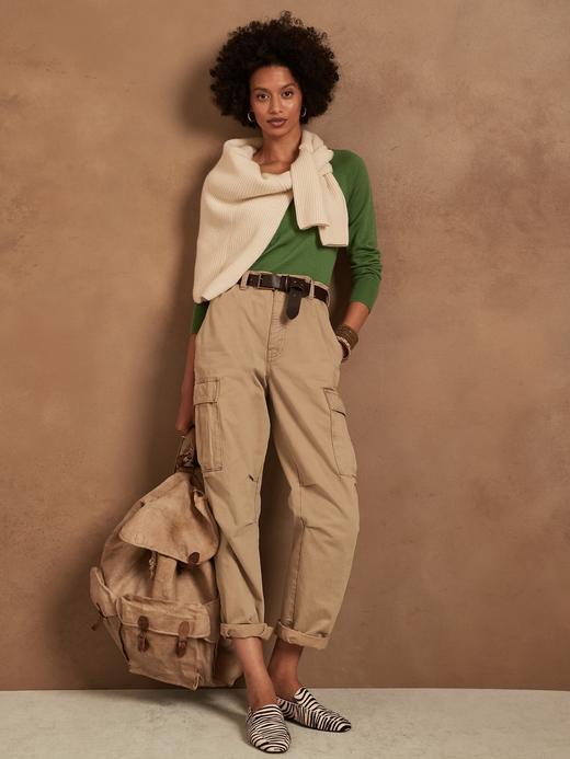Kadın Yeşil Dikişsiz V Yaka Merino Yün Kazak