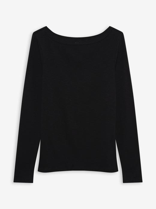 Kadın Siyah Uzun Kollu Kayık Yaka T-Shirt