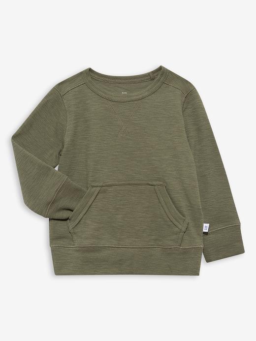 Erkek Bebek Yeşil Uzun Kollu Waffle Sweatshirt