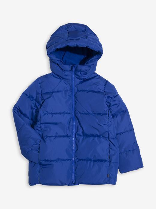 Erkek Çocuk Mavi Kapüşonlu Pufa Mont