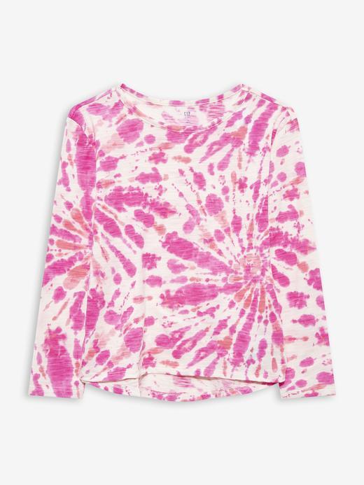 Kız Çocuk Pembe Yuvarlak Yaka Desenli T-Shirt