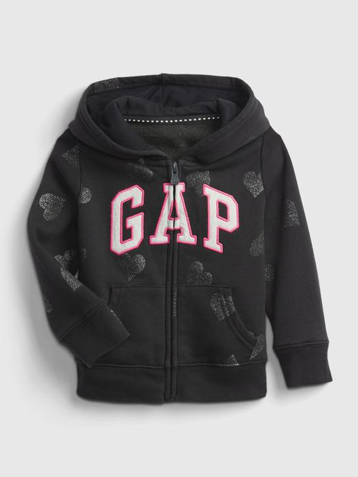 Kız Bebek Siyah Gap Logo Kapüşonlu Sweatshirt
