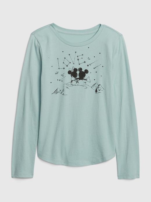 Kız Çocuk Mavi Uzun Kollu Grafik T-Shirt