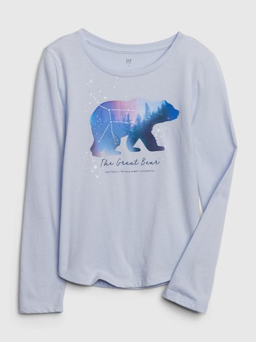 Kız Çocuk Mor Uzun Kollu Grafik T-Shirt