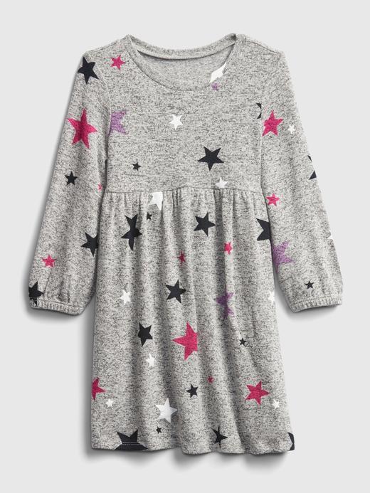 Kız Bebek Gri Desenli Softspun Elbise